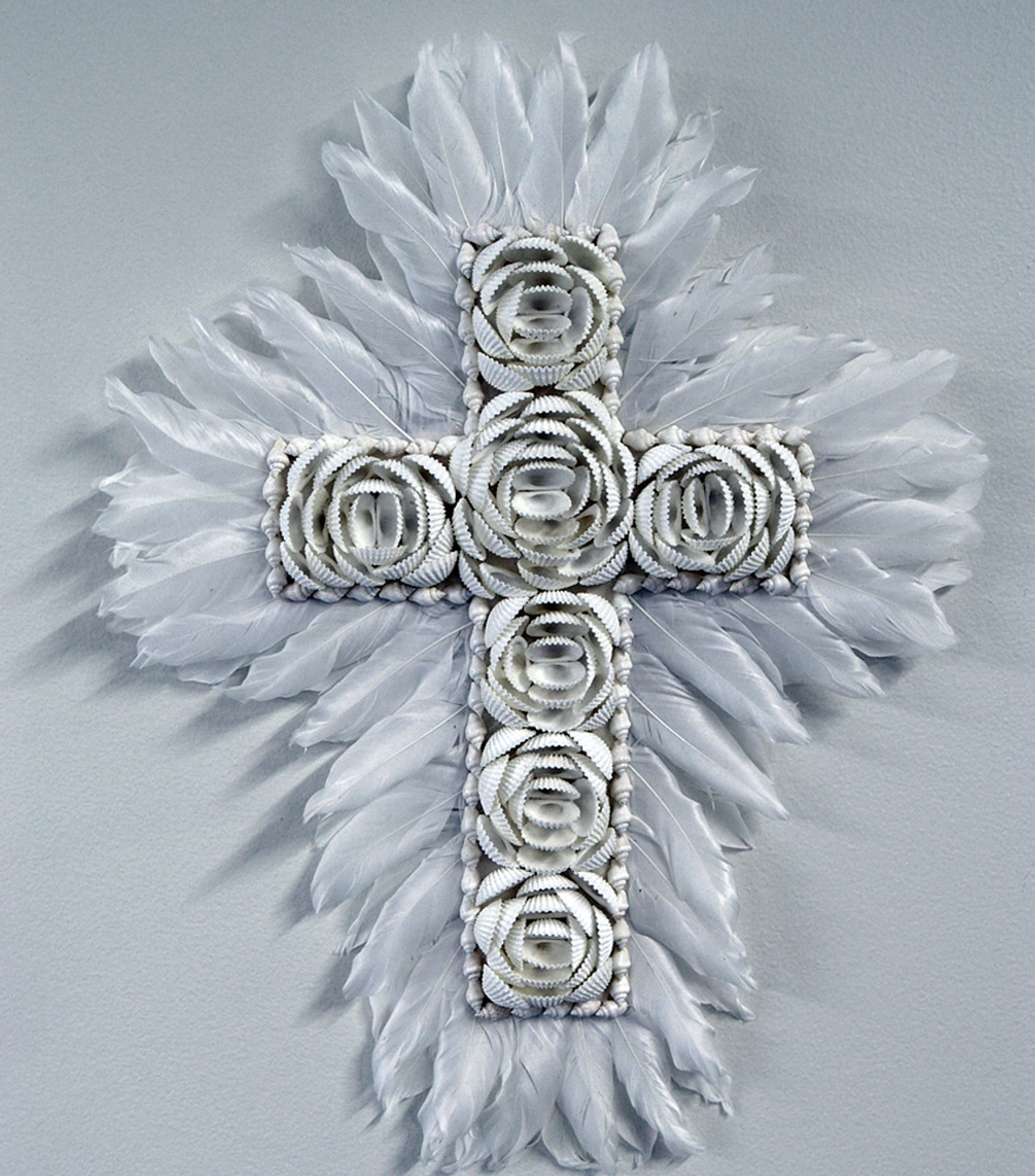JUJU shell Feather cross wall art home decor religious cross Feather dimensions 40cm x 50cm Shell dimensions 27cm x 38cm