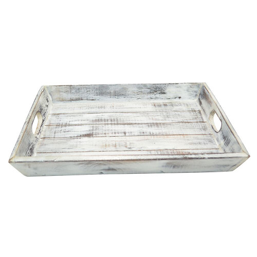 Hamd Made Slat Wooden Tray. White wash ideal for decor and serving 30x38x5