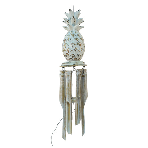 Hand Made Wood Carved Pineapple - Bamboo Wind Chime. white wash 50cm