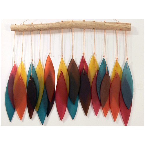 Garden Outdoor Living Hand made recycled Beach Glass Leaf Wind Chime