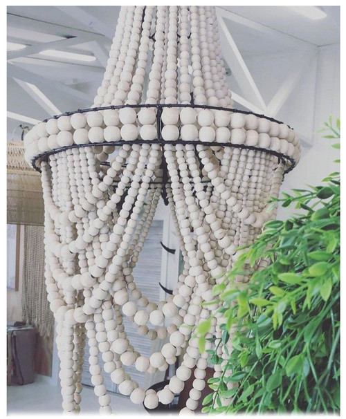 Hamptons Coastal Style Beaded Loop Chandelier Boho Home Decor  40cm  x 76cm