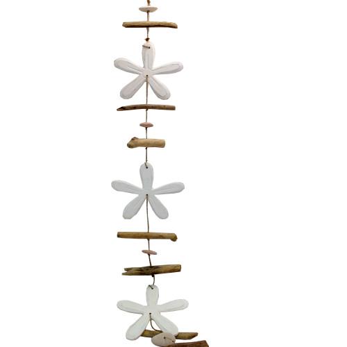 Driftwood Garland Four WHITE Flowers & pebble 100cm long