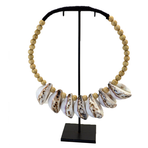 Tiger Shell decorative necklace on metal stand