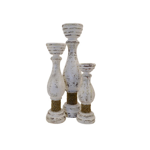Hand Carved Wooden Set of 3 Hamptons Goblet Candle Sticks with rope tie White Wash Colour Large 50cm Medium 40cm small 30cm