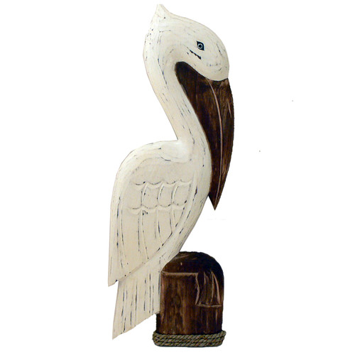 Hamptons Pelican wall art hanging Wood carved with hook for easy hanging 60cm x 17cm