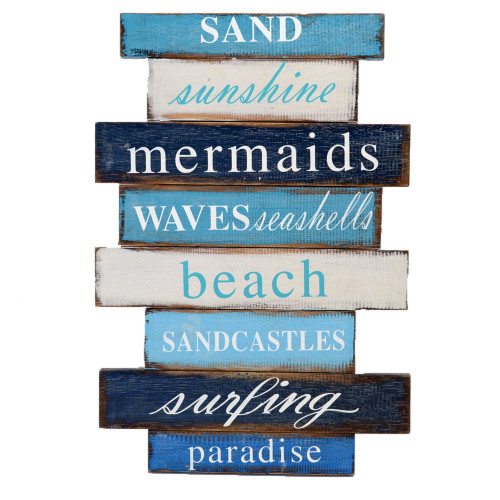 Beach House Wall art  Sand Sunshine Mermaids Waves sign Mixed Blue/Aqua/White Painted on slat frame 30cm x 44cm