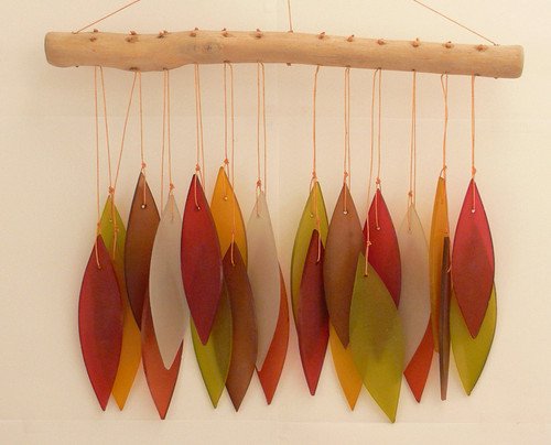Outdoor Home Decor Recycled Beach Glass autumn  Leaf Chime on driftwood  30cm x 27cm