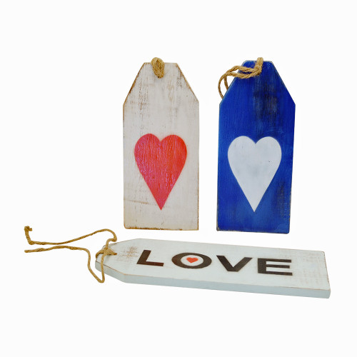 Door tags Love set of 3 with rope ties 8x24cm, 9*20cm