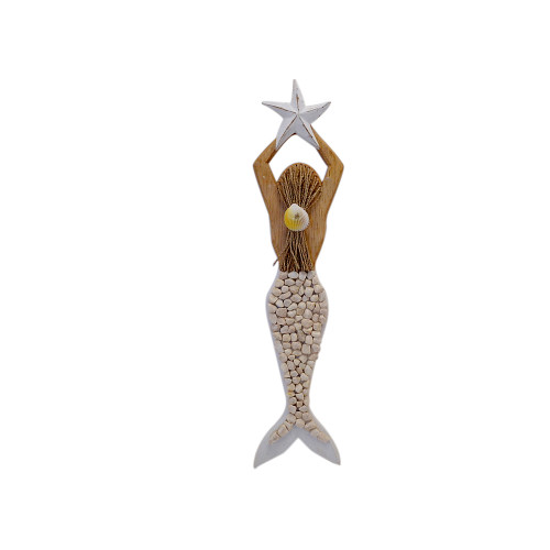 Beach House wall art Mermaid white pebble   54cm x 14cm White pebble with string tie and shell