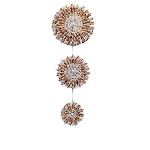 Beach House wall art three shell flower wall decor 21cm x 60cm (top of large shell flower to bottom of small shell flower)