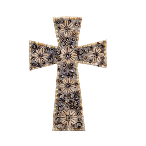 Shell Flower Cross  wall art religious 20 x 30cm