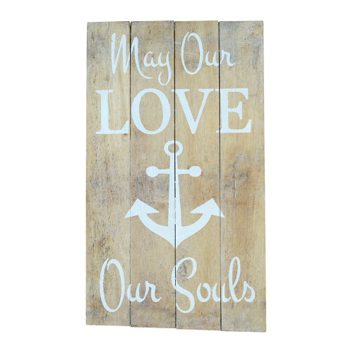 Coastal Hampton Wall Hanging May our LOVE anchor our souls - Slat Board sign Home Decor Wall Art 45cm x 22cm Natural/White