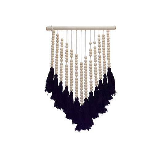 Coastal Boho Hand Made beaded Home Decorator wall hanging with tassel natural and Black