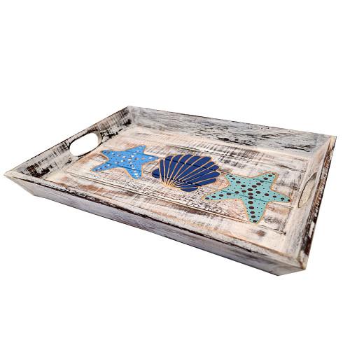 Hamptons Style Wood Tray Coastal Home Decor Seaside Home Decoration  White wash slat tray with carved seashell and starfish