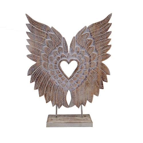 Hand Carved Angel Wings Boho table decor Boho Home Decor Coastal figurine  55cmx40cm Wood carved