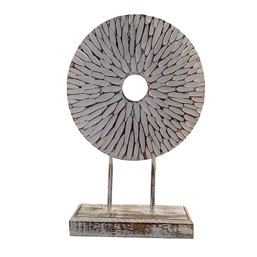 Coastal Beach House Flower disk on  stand Hamptons table Home Decor Wood carved 43cm x 28cm