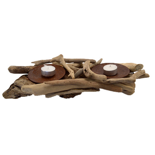 Beach House style Driftwood Double Candle Holder Home decor  Also comes in single style SKU51025