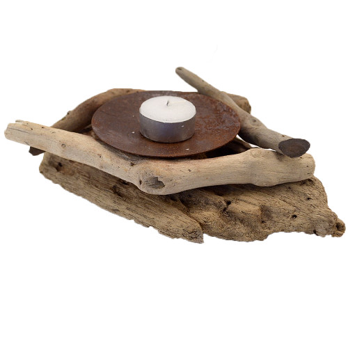 Beach House style  Driftwood single Candle Holder Home decor 20x15x6 Made from natural driftwood and rusted metal for authentic beach house look Also comes in double size SKU 51026