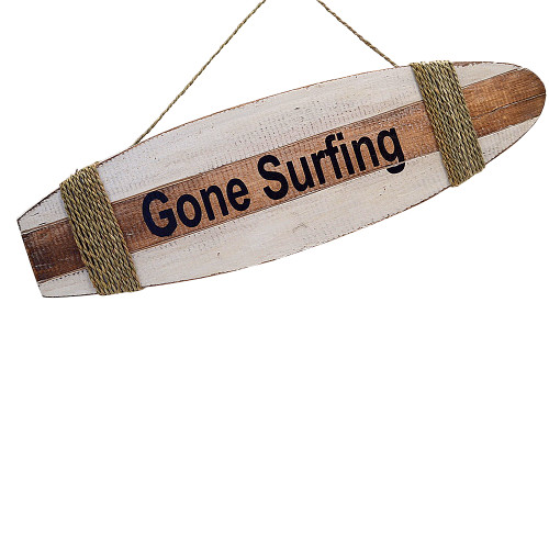 Coastal Beach House Style surfboard Wall Hanging gone surfing Wall Art Home Decoration Natura l/ White/Black.  Rope tie 50cm x 15cm