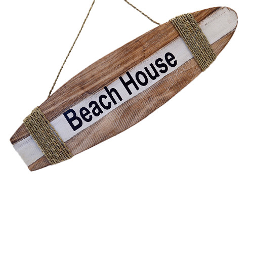 Coastal Beach House Style surfboard Wall Hanging  Wall Art Home Decoration Natural/White/Black. Rope tie 50cm