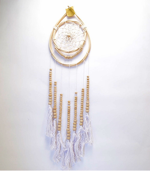 Macrame Tear drop Dream Catcher Wall Hanging Boho Coastal Home Decor White/Natural Cotton/Rattan/Wood 29cm x 19cm