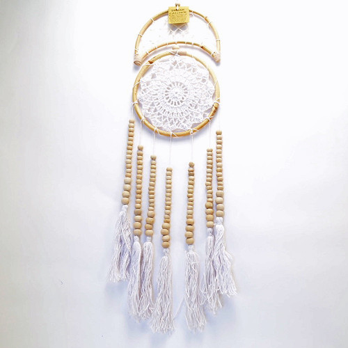 Macrame 1/2 Moon Dream Catcher Wall Hanging Boho Coastal Home Decor Natural/White 60cm x 17cm