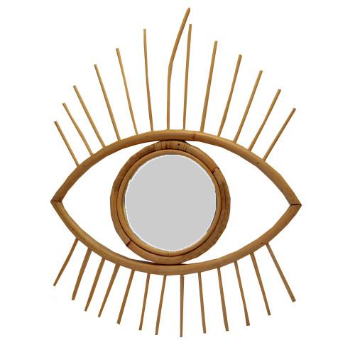 Boho Eye Shaped hand made Wall Hanging Decor Rattan Mirror 50cm