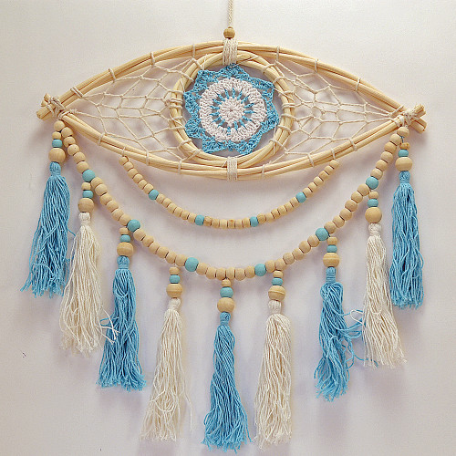 Macrame beaded Eye Dream Catcher Wall Hanging Boho Coastal Home Decor