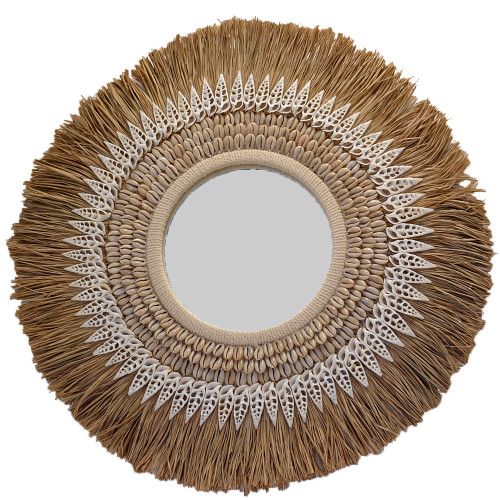 Coastal Boho Rafia and shell mirror Wall Hanging Home Decoration Wall Art Decor **** LAST ONE ***