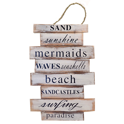 Beach House Hamptons Wall art Sand Sunshine Mermaids Waves sign White/Black Painted on slat frame 30cm x 44cm