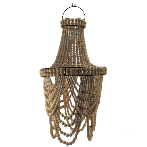 Coastal Style Beaded Loop Chandelier Boho Home Decor natural bead 40cm x 76 cm Also comes in white  sku 40488