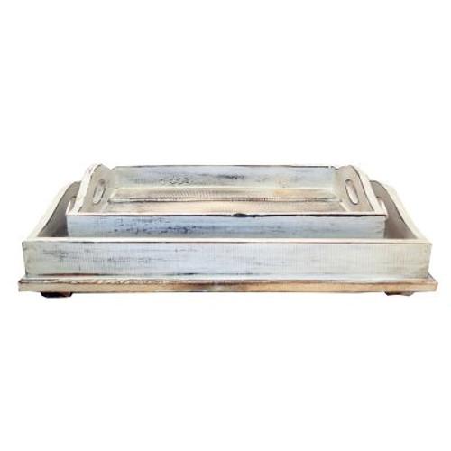 Coastal hamptons set of two slat serving trays White wash Large 46x35x5 Medium 37x25x5 cms
