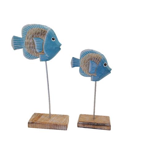 Coastal Beach House tropical fish on wood/metal stand Boho Home Decor 30x14cm, 25x12cm