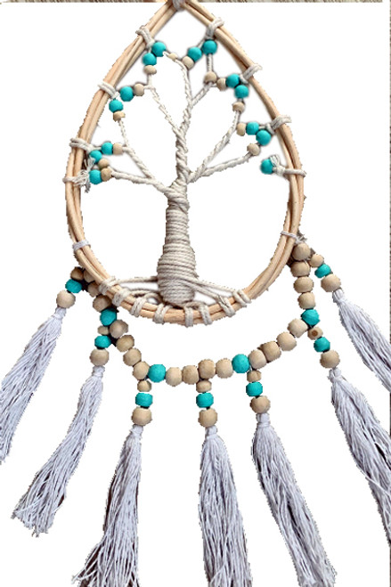 Rattan/Beaded/Tassel Tree of lift wall hanging Aqua/Natural/White 50cm x 20cm