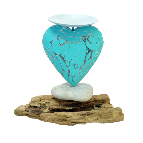 Carved Aqua heart candle hoder Wood/Metal/stone Size varies slightly due to size of driftwood. 12cm x 15cm