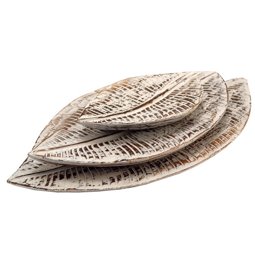 Hand carved Hampton  Style Wood tray leaf set of three 39x23,30x18,19x12 cm