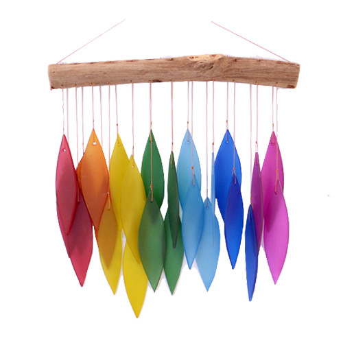 Outdoor Home Decor Recycled Beach Glass rainbow bright  Leaf Chime on driftwood  30cm x 27cm