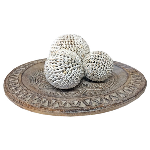 Carved Lux Wood plate Home table Decoration display Clear wash 35cm x 35cm (Shell balls not included )
