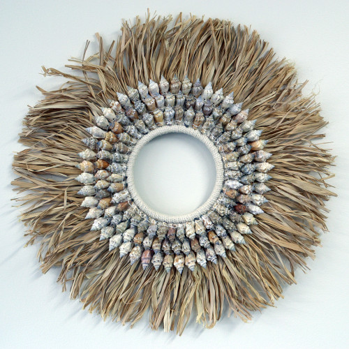 Distinctive BOHO textural wall decoration  made from natural fibre & sea shell 50cm x 50cm
