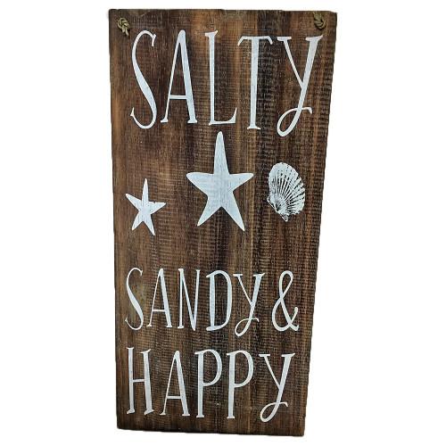 SALTY  SANDY AND HAPPY Wall hanging coastal wall decor 20cm x 40cm
