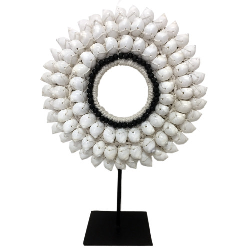 Home Decor button shell and bead necklace on metal stand 35cm x 25cm