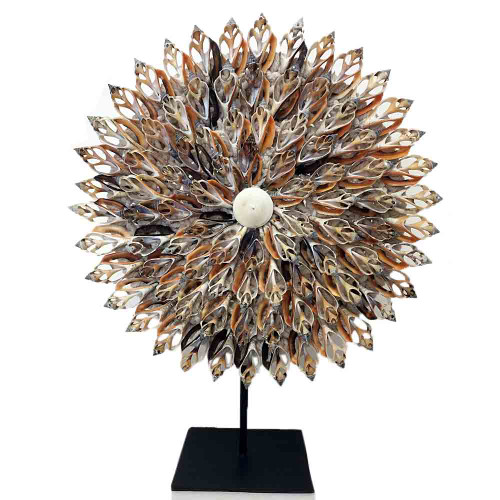 Home Decor shell flower  on metal stand 35cm x 25cm