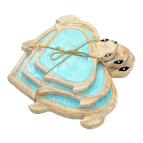 Bundle of three turtles Aqua/Natural.  Can be hung or free stand