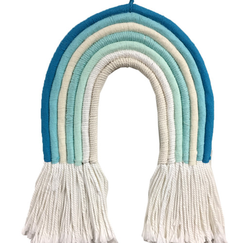 Macrame Rainbow beautiful vibrant colours influenced by the Australian landscape   Our Beach rainbow featured here 28cm w x 42cm height