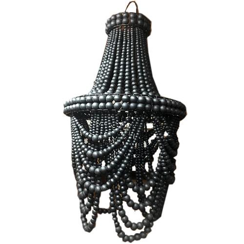Coastal Style Beaded Loop Chandelier Boho Home Decor blackl bead 40cm x 76 cm