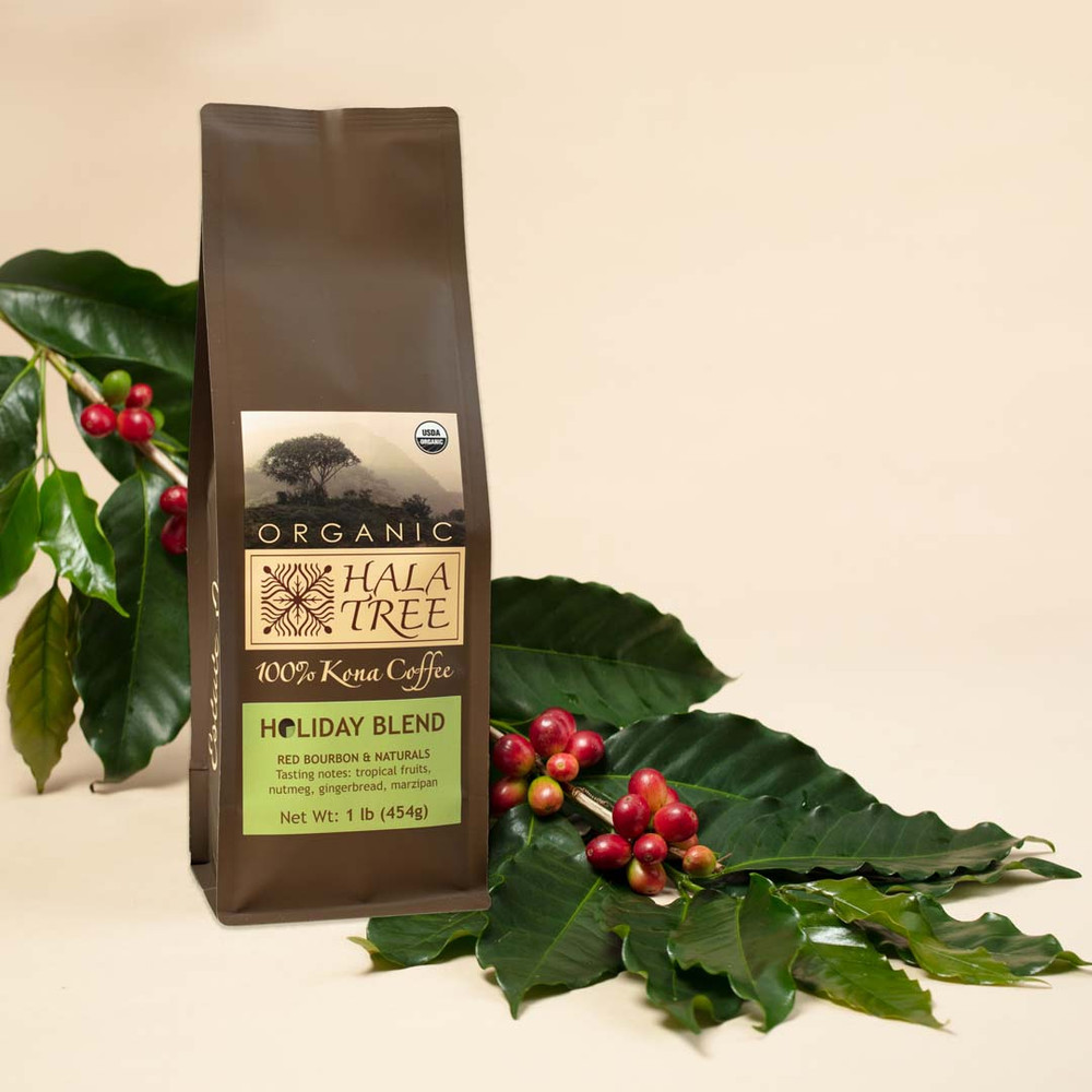 Holiday Blend: Medium Roast Green apple, grape, maple syrup, cacao nibs, tropical fruits, sandalwood, gingerbread, sweet spices, marzipan, nutmeg. Full and syrupy body with a quick finish and lingering aftertaste. All brewing methods work well with this coffee.