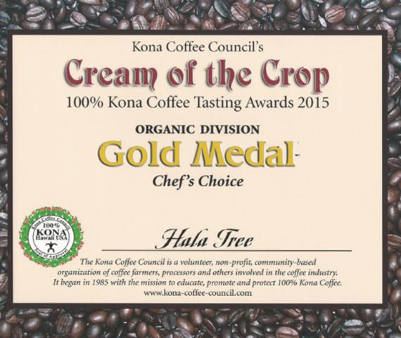 Gold Medal Cream of The Crop Kona Coffee Award