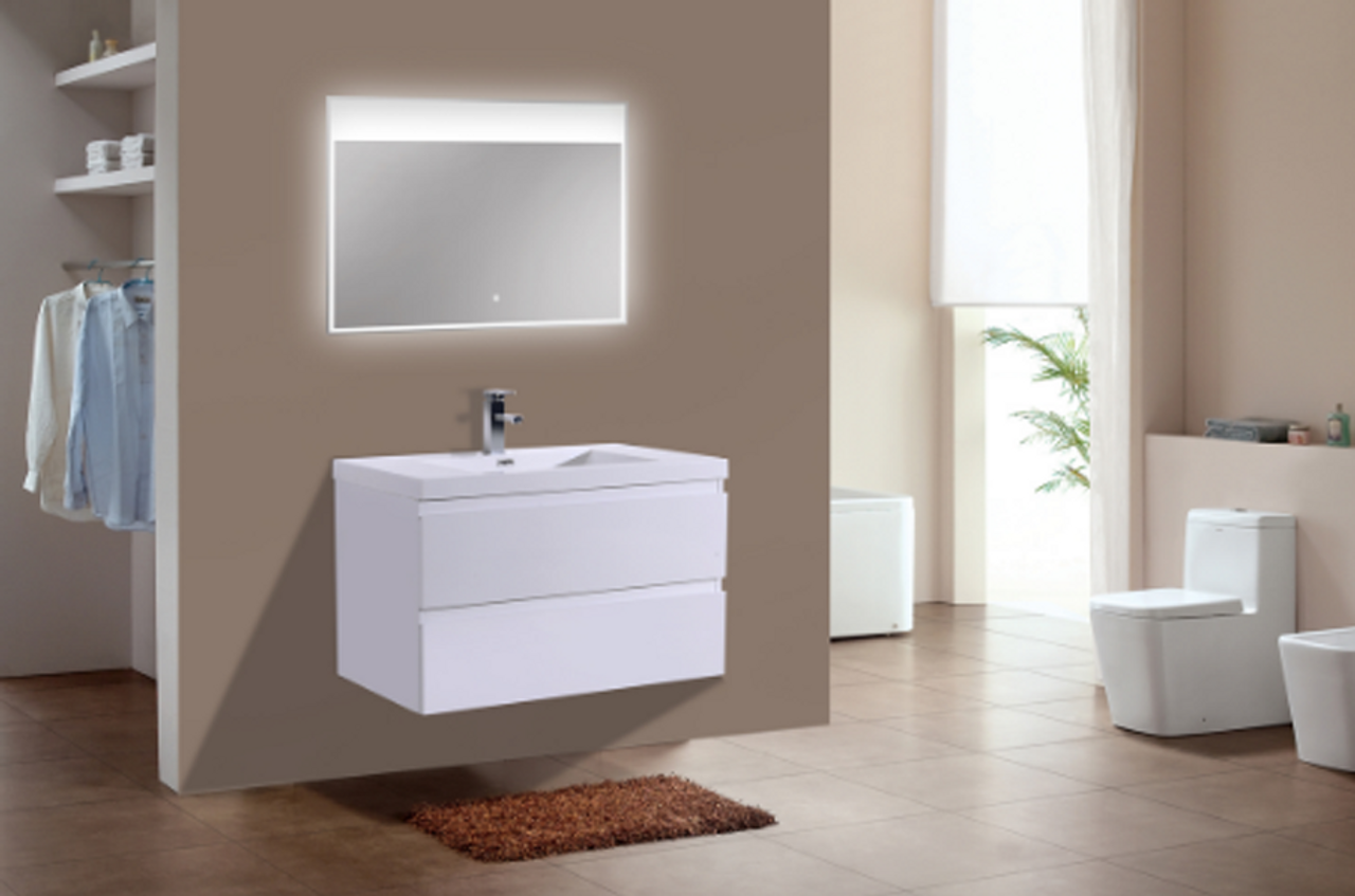 Moreno Mob 36 High Gloss White Wall Mounted Modern Bathroom Vanity With Reeinforced Acrylic Sink Los Angeles Vanity