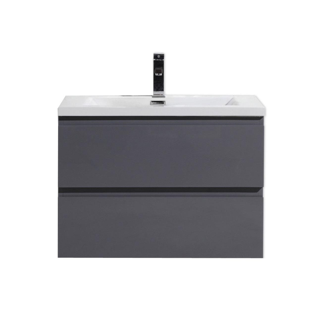 . MORENO MOB 30  HIGH GLOSS GREY WALL MOUNTED MODERN BATHROOM VANITY WITH  REEINFORCED ACRYLIC SINK