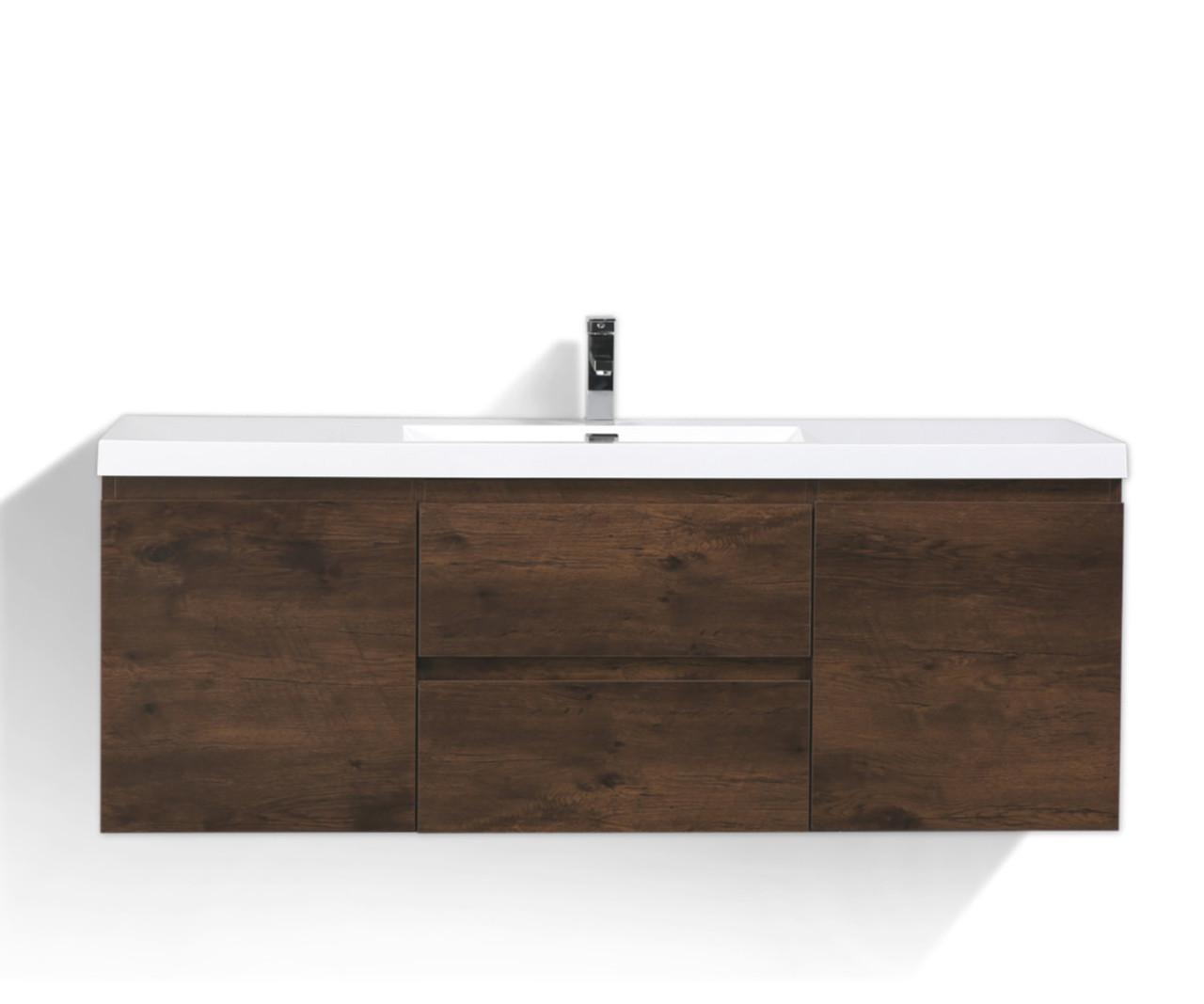 Mob 60 Single Sink Rosewood Wall Mounted Modern Bathroom Vanity With Reeinforced Acrylic Sink Los Angeles Vanity